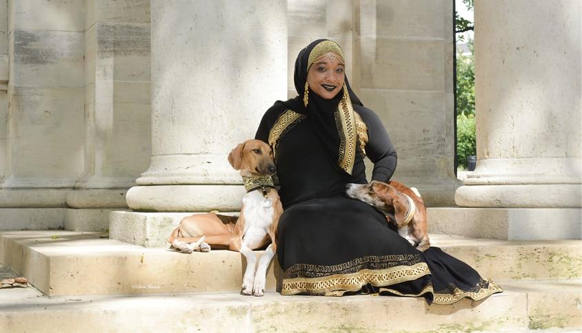 Aliya Taylor with Azawakh Dogs
